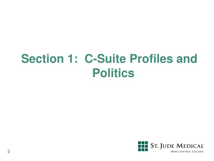 Section 1:  C-Suite Profiles and Politics