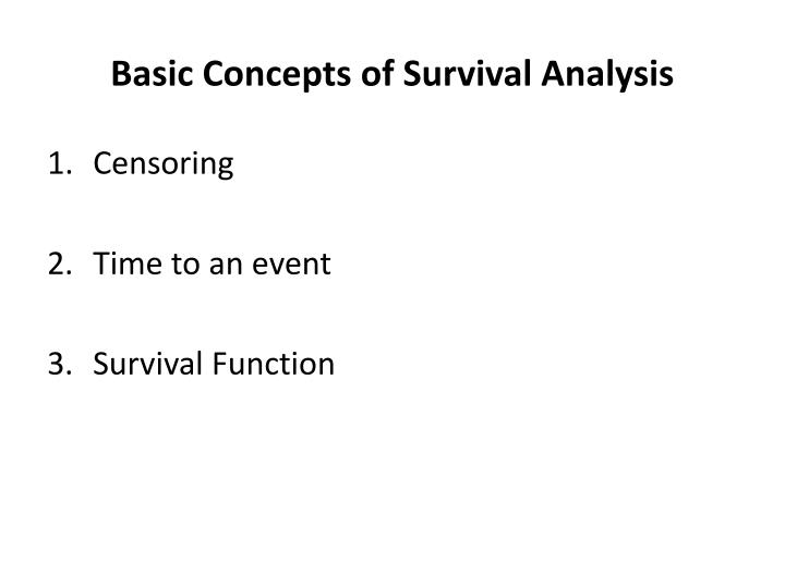 Basic Concepts of Survival Analysis