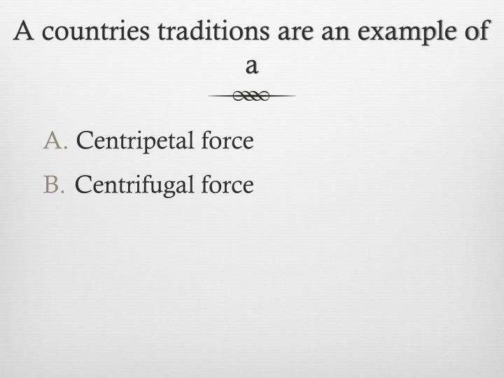 A countries traditions are an example of a