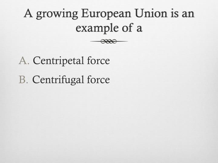 A growing European Union is an example of a