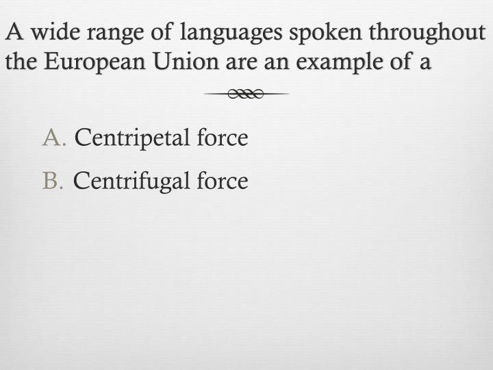 A wide range of languages spoken throughout the European Union are an example of a