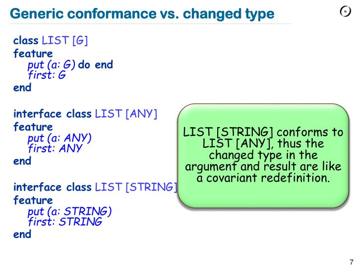 Generic conformance vs. changed type