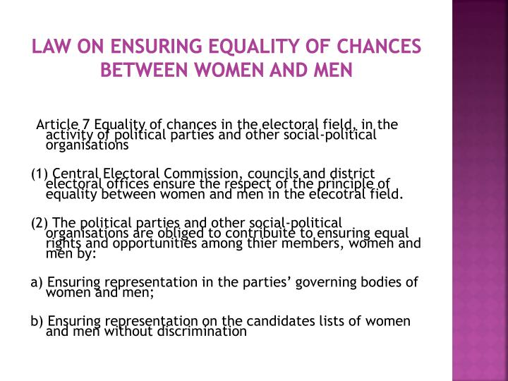 Law on ensuring equality of chances between women and men