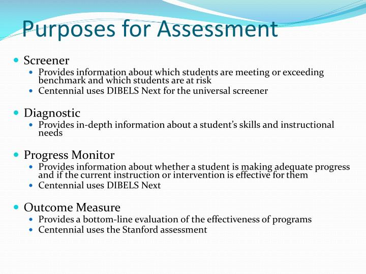 Purposes for assessment