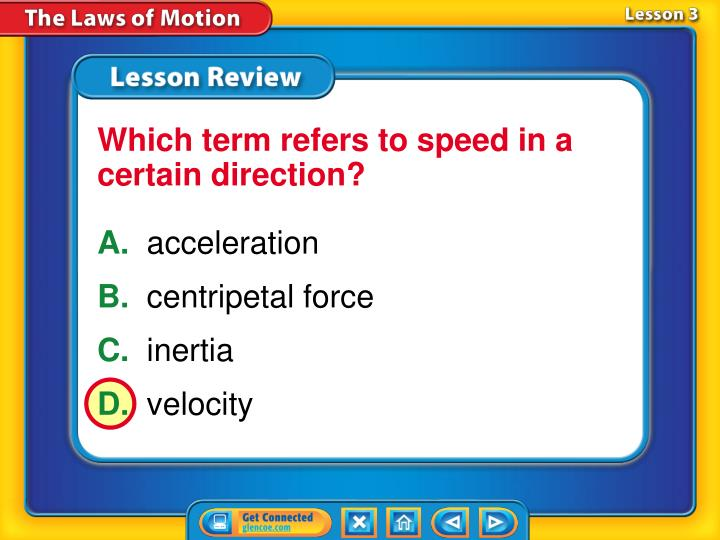 Which term refers to speed in a certain direction?