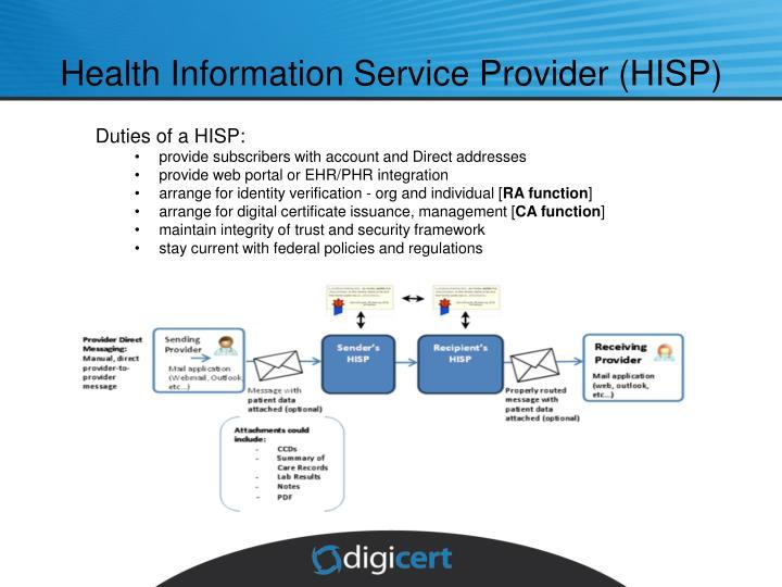 Health Information Service Provider (HISP)