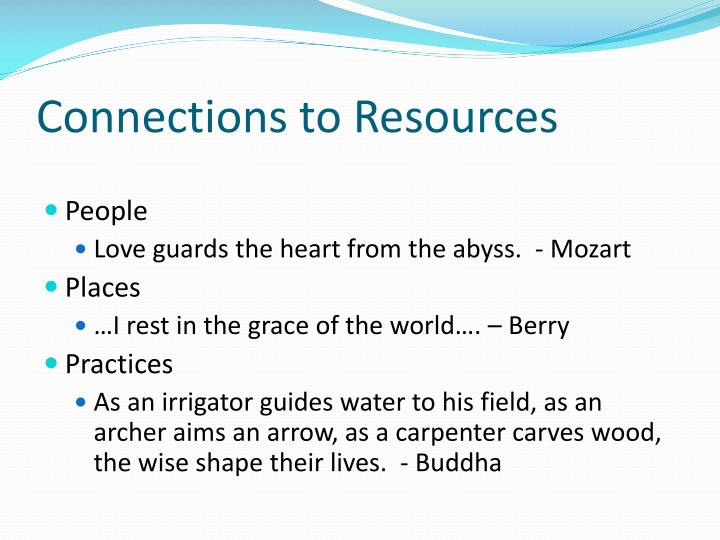 Connections to Resources