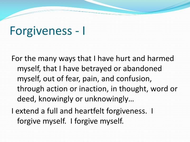 Forgiveness - I