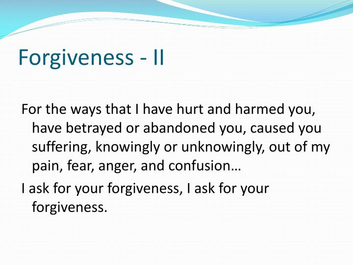 Forgiveness - II
