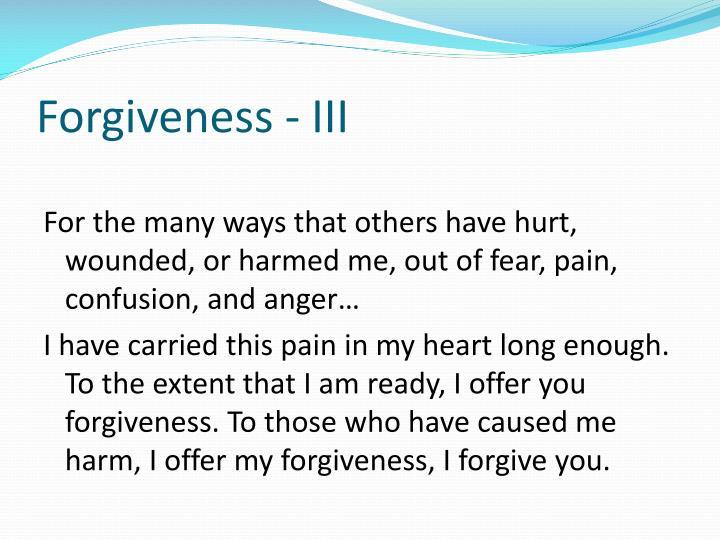 Forgiveness - III