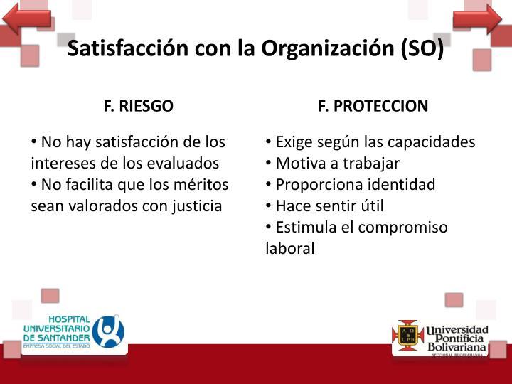 Satisfacción con la Organización (SO)