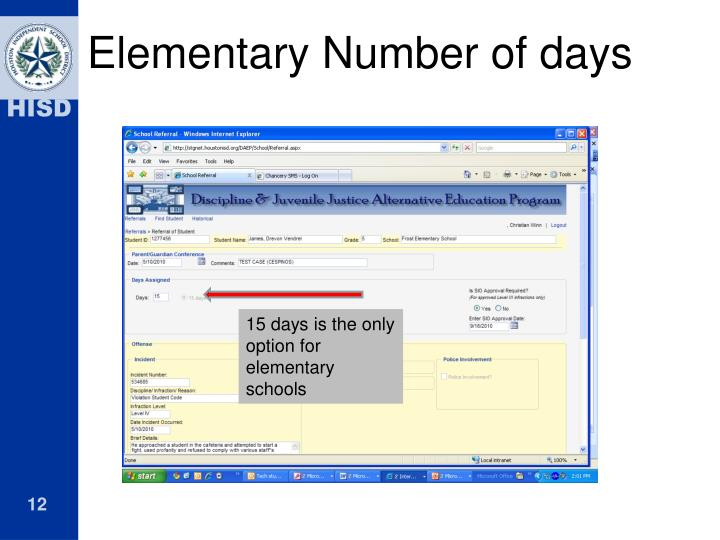 Elementary Number of days