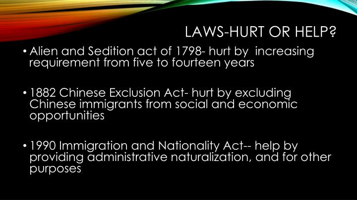 Laws-Hurt or Help?