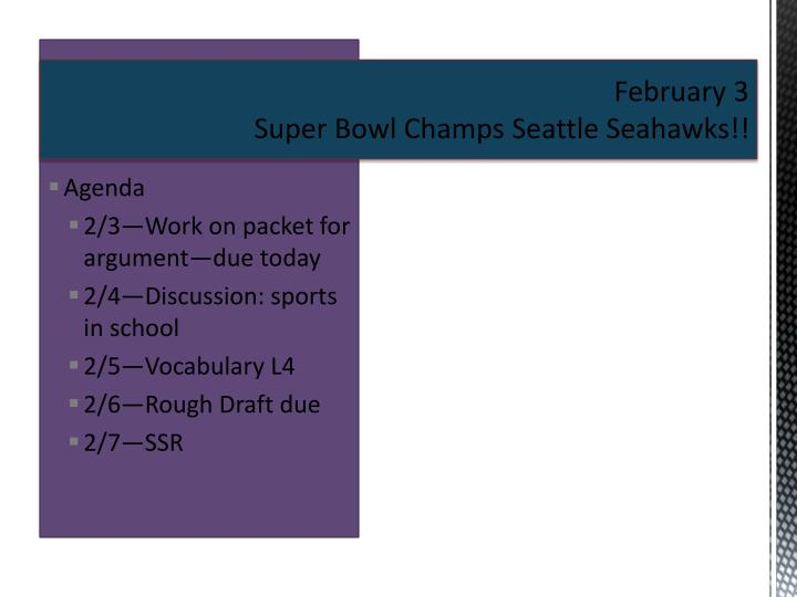 February 3 super bowl champs seattle seahawks