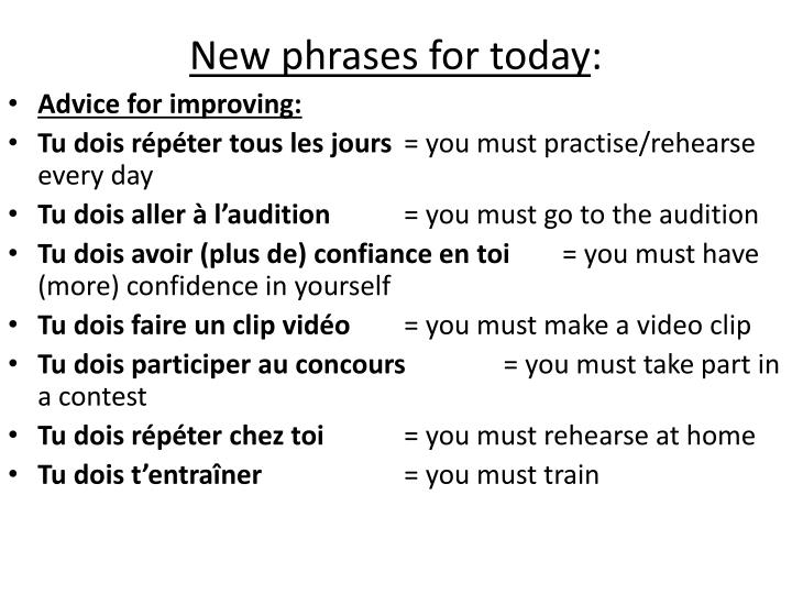 New phrases for today