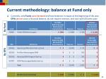 current methodology balance at fund only