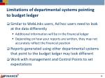 limitations of departmental systems pointing to budget ledger