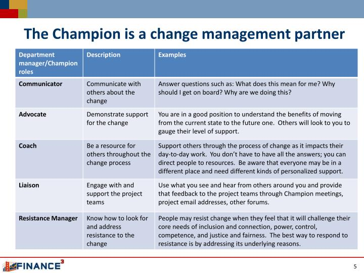 The Champion is a change management partner