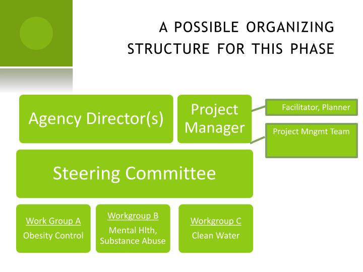 a possible organizing structure for this phase