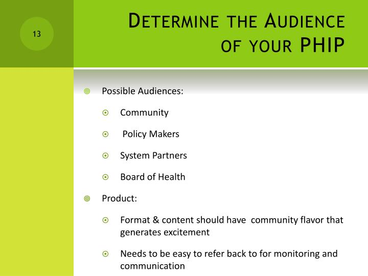 Determine the Audience of your PHIP