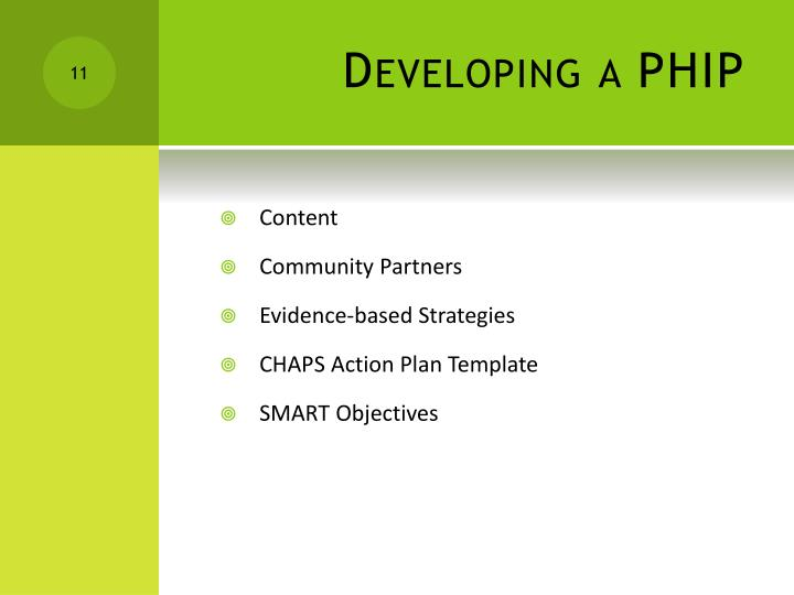 Developing a PHIP
