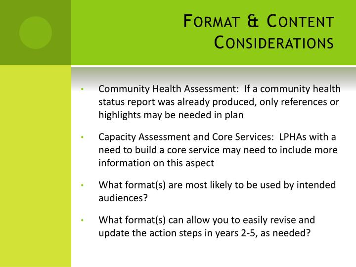 Format & Content Considerations