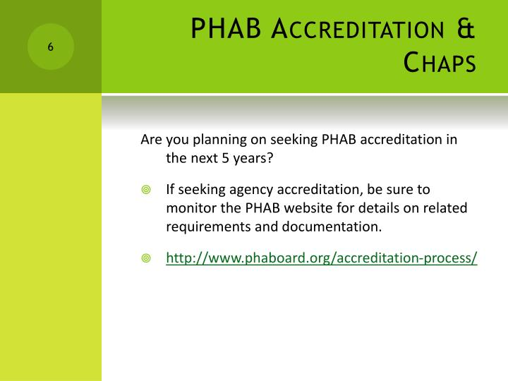 PHAB Accreditation & Chaps