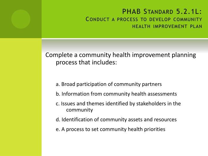 PHAB Standard 5.2.1L: