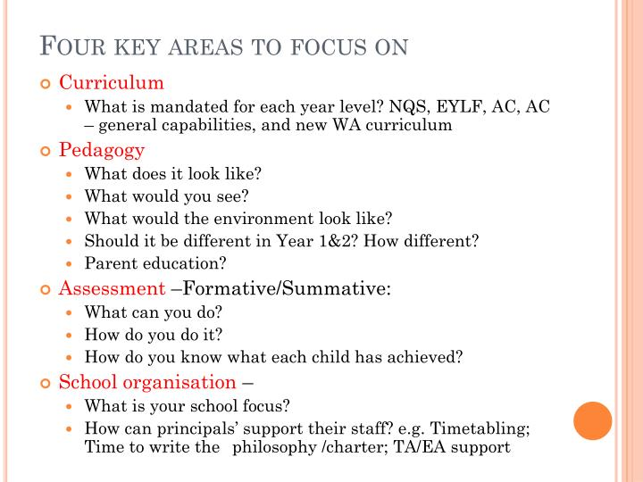 Four key areas to focus on
