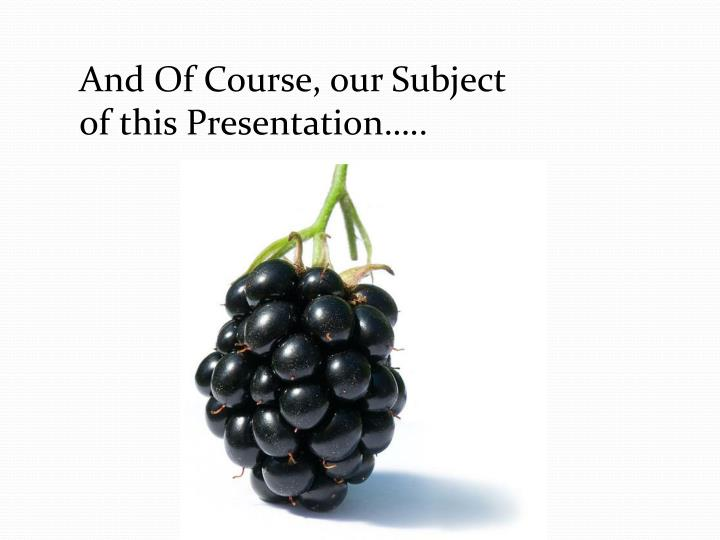 And Of Course, our Subject of this Presentation…..