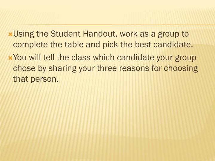 Using the Student Handout, work as a group to complete the table and pick the best candidate.