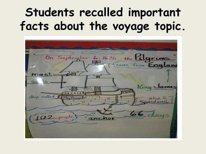 Students recalled important facts about the voyage topic.