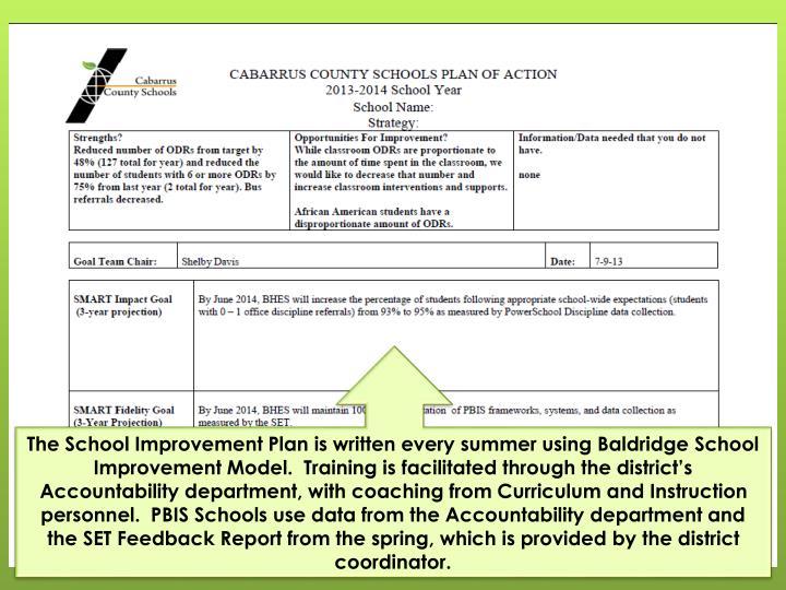 The School Improvement Plan is written every summer using