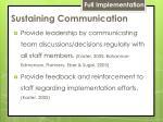 sustaining communication