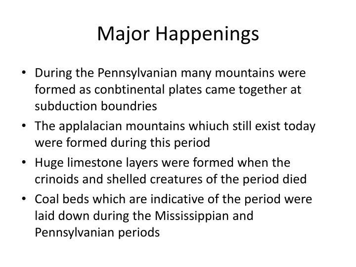 Major Happenings