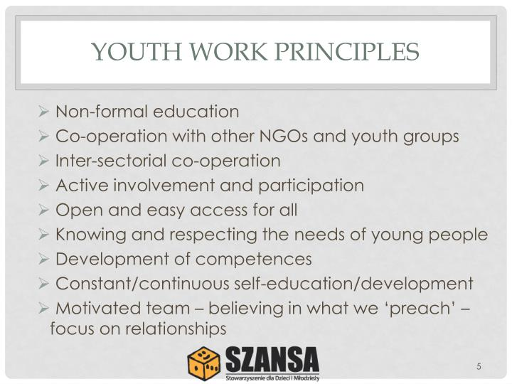 YOUTH WORK PRINCIPLES