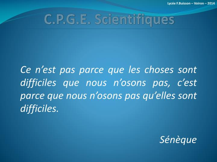 C p g e scientifiques