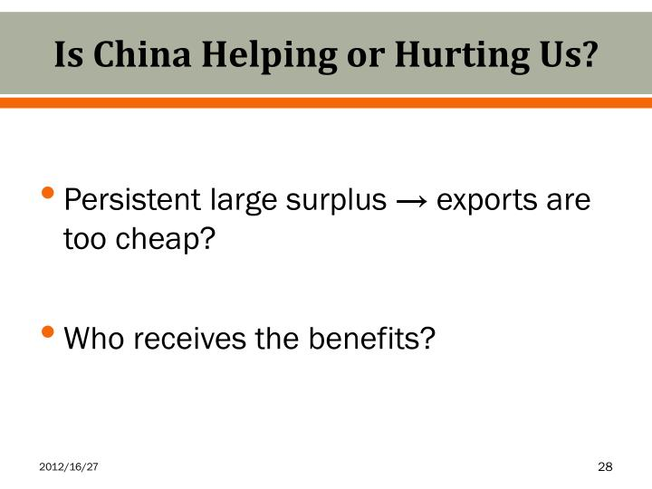 Is China Helping or Hurting Us?