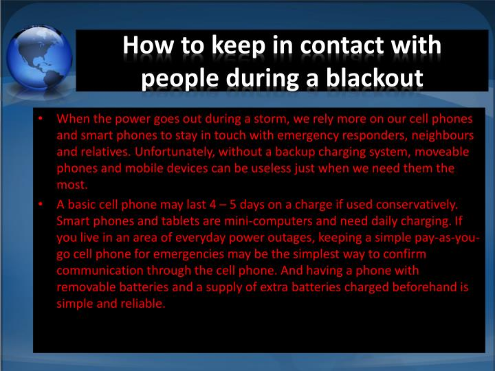 How to keep in contact with people during a blackout