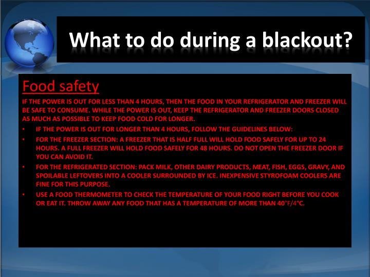What to do during a blackout?