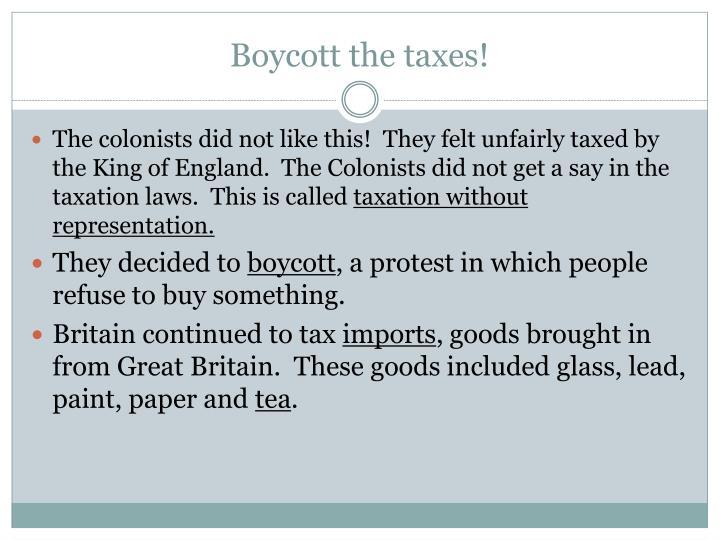 Boycott the taxes!