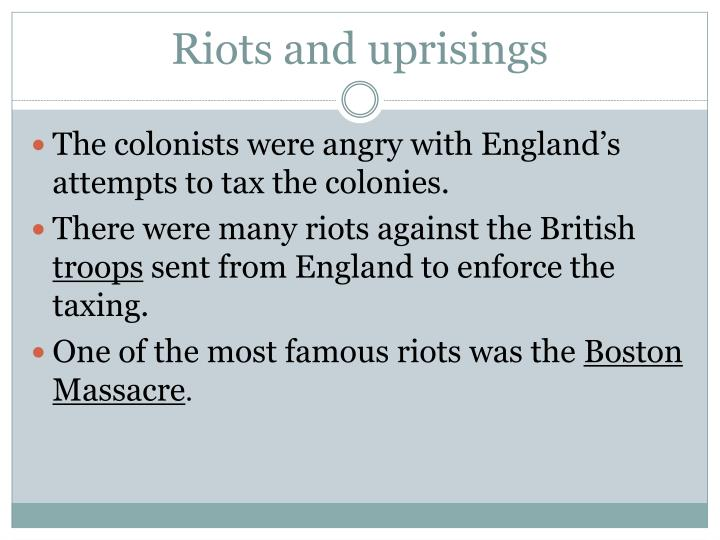 Riots and uprisings