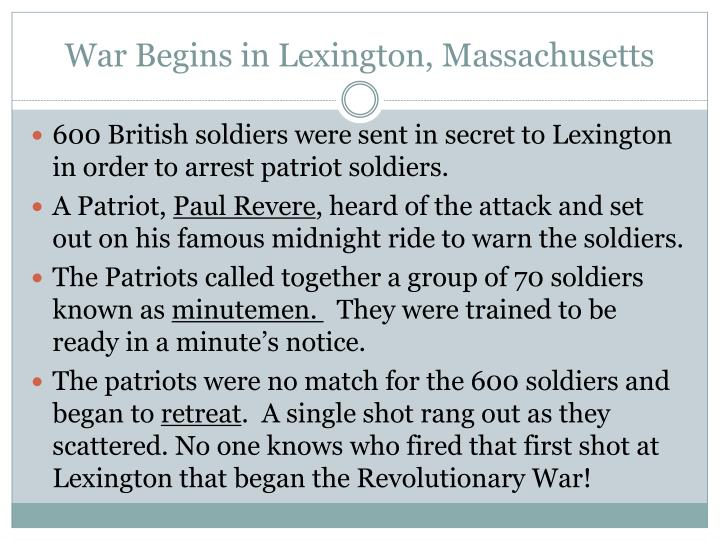 War Begins in Lexington, Massachusetts
