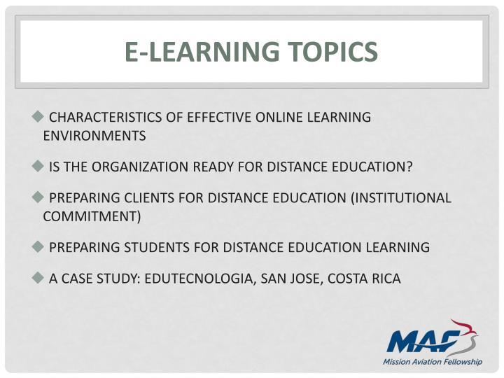 E-learning topics