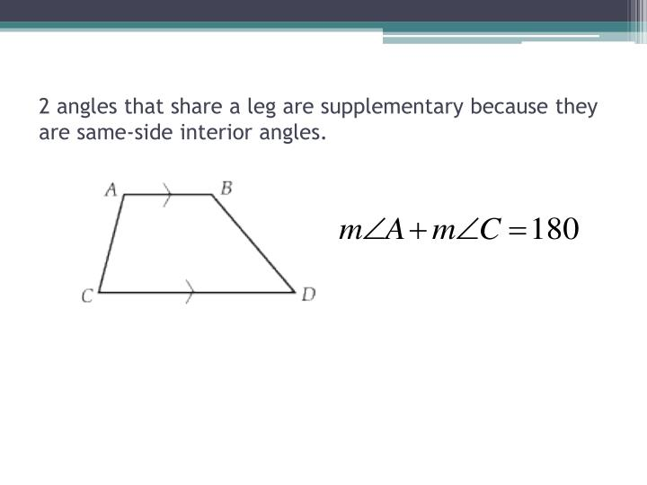 2 angles that share a leg are supplementary because they are same-side interior angles.