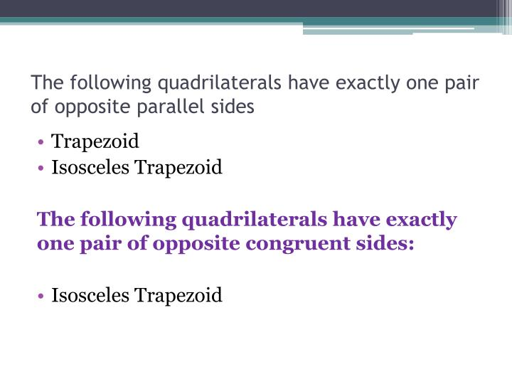 The following quadrilaterals have exactly one pair of opposite parallel sides