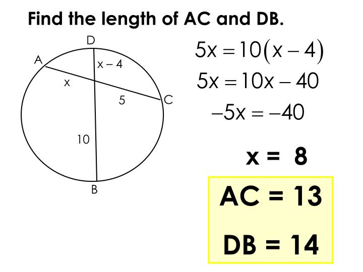 Find the length of AC and DB.