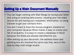 setting up a main document manually