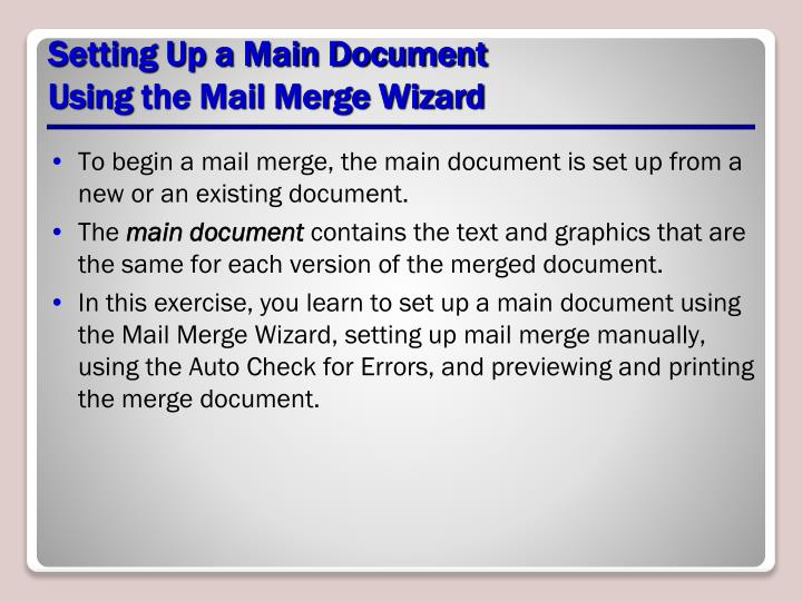 Setting Up a Main Document