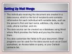 setting up mail merge